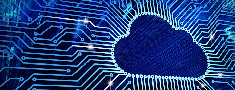 Cloud computing image with blue background