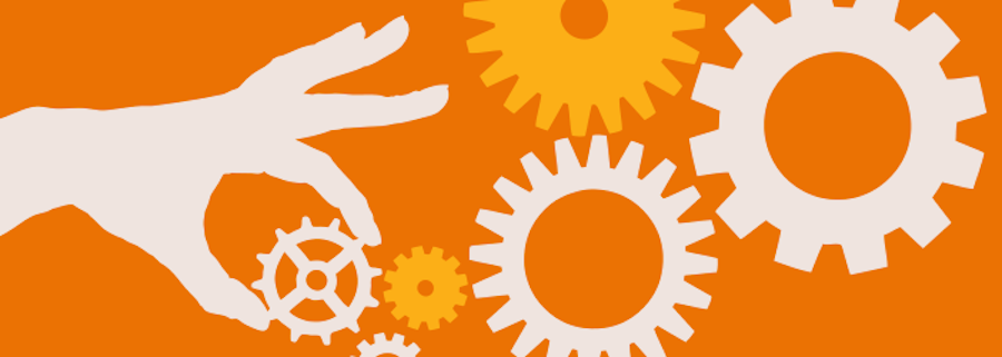 Content curation image with gears and a hand