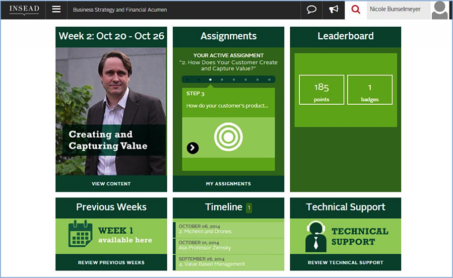 "Screenshot of the ""Business Strategy and Financial Acumen"" homepage"