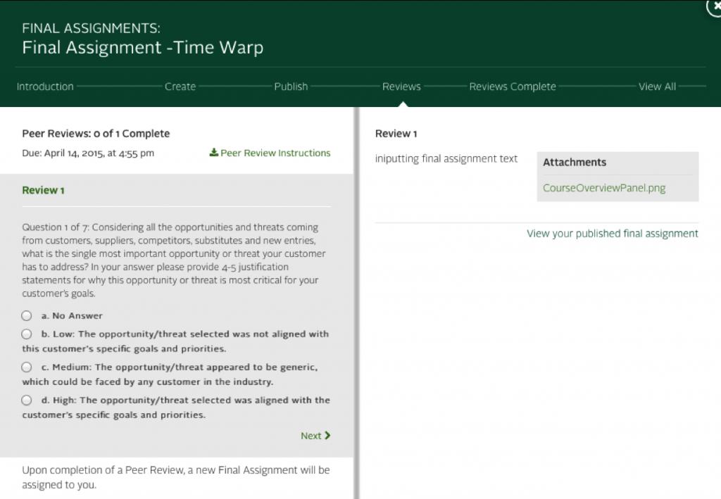Peer Review Screenshot