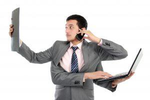 multitasking businessperson