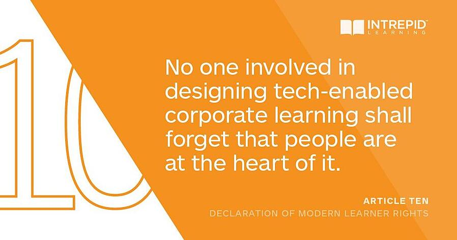 Article10 of the Declaration of Modern Learner Rights