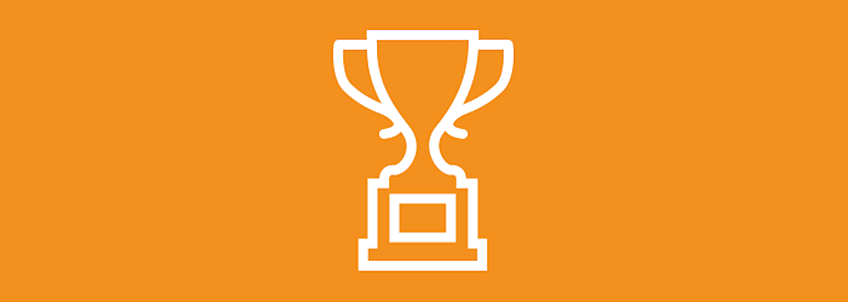 Trophy on orange background
