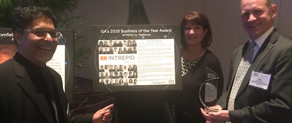 Sanjay Advani, Ann Roesener, Sam Herring with ISA award plaque