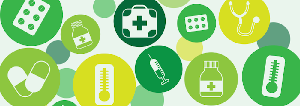 Illustration of healthcare items
